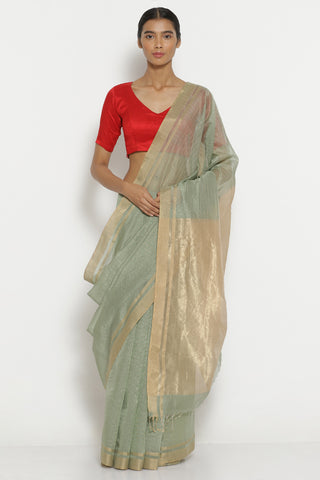 Sage Green Handloom Pure Silk Cotton Chanderi Saree with All Over Zari Checks