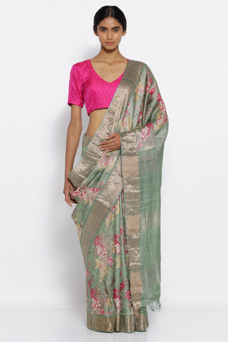 Sage Green Handloom Pure Tussar Silk Saree with All Over Floral Print and Woven Zari Border
