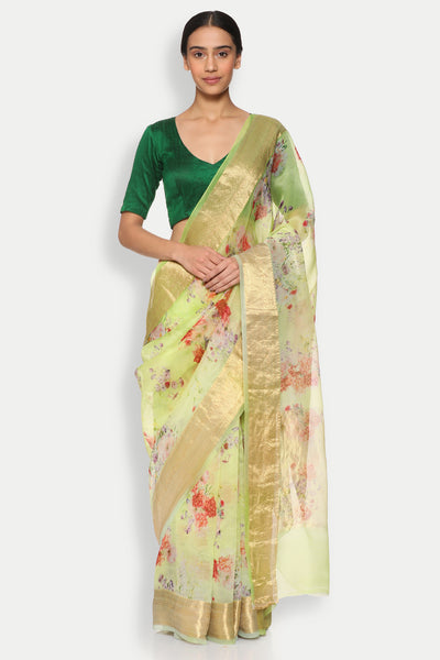 Via East copy of lemon green pure silk organza sheer saree with detailed woven zari border