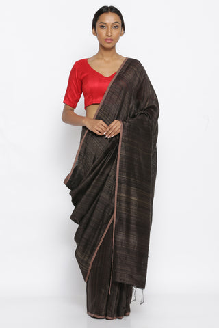 Black and Gold Handloom Pure Matka Silk Saree with Woven Border
