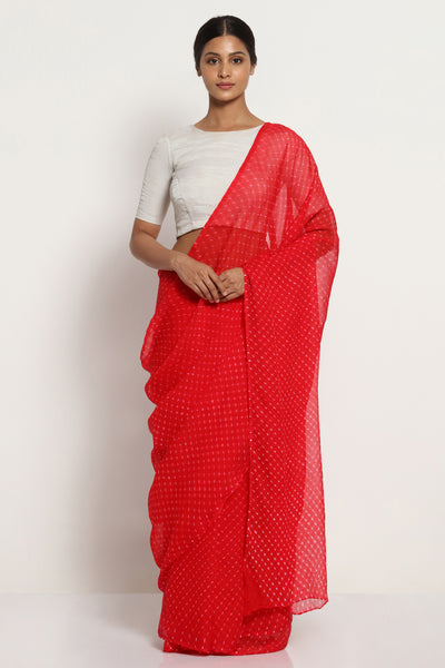 Via East red pure chiffon saree with traditional leheriya print