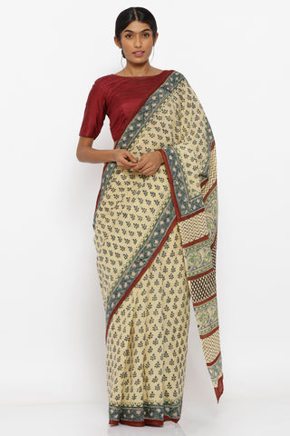 Beige Handloom Pure Cotton Saree with Sanganeri Block Print and Detailed Pallu