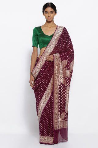 Plum Purple Handloom Pure Silk Georgette Banarasi Saree with All Over Zari Buttis and Antique Gold Zari Border