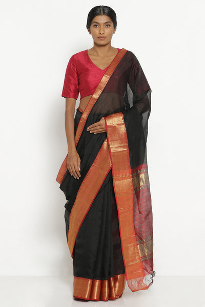 Via East black handloom silk cotton mangalagiri saree with contrasting red border