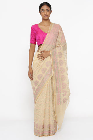 Beige Silk-Cotton Saree with All Over Floral Embroidery and Gold Zari Border