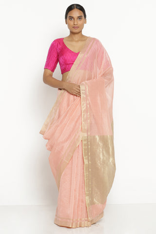Blush Pink Handloom Pure Silk Cotton Chanderi Saree with All Over Gold Zari Checks