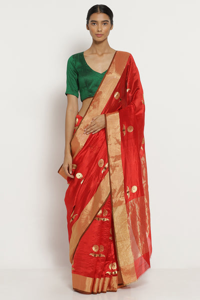 Via East red handloom pure silk chanderi saree with all over zari motifs