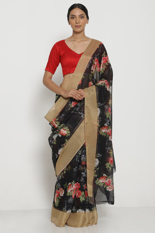 Black Pure Linen Cotton Saree with All Over Floral Motifs and Gold Woven Border