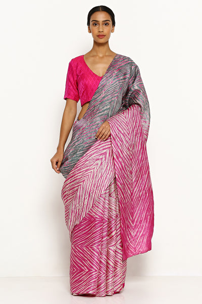Via East pink grey pure tussar silk saree with all over traditional hand dyed shibori print