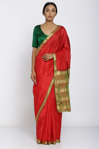 Red Handloom Pure Silk Saree with All Over Motif and Green Border