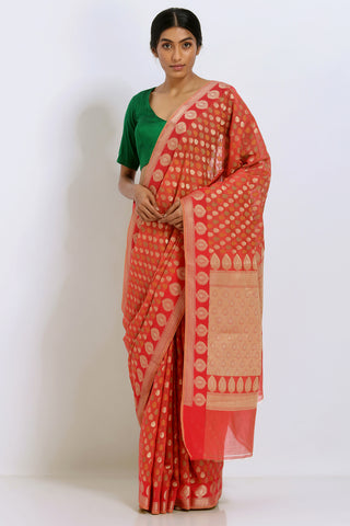 Red Handloom Pure Silk Banarasi Saree with Allover Motifs and Rich Border