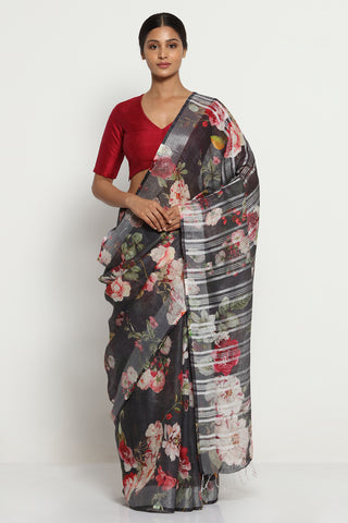 Black Pure Linen Saree with All Over Floral Print and Silver Zari Border
