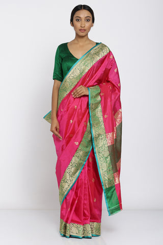 Bright Pink Handloom Pure Silk Saree with Allover Zari Motif and Green Detailed Border