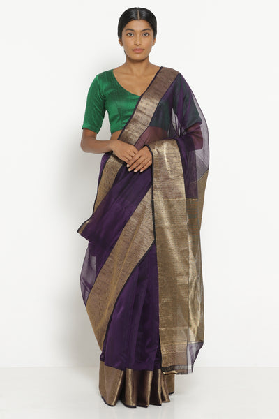 Via East purple handloom silk cotton chanderi saree with rich gold border