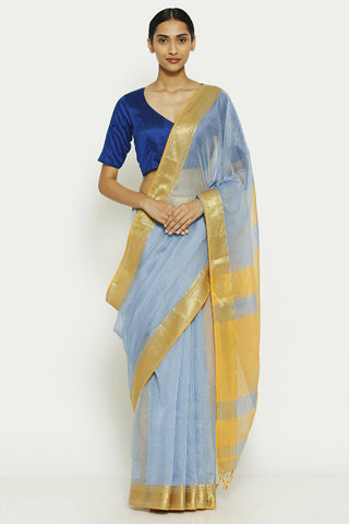 Aqua Blue Handloom Pure Silk Cotton Mangalagiri Saree with All Over Striped Pattern
