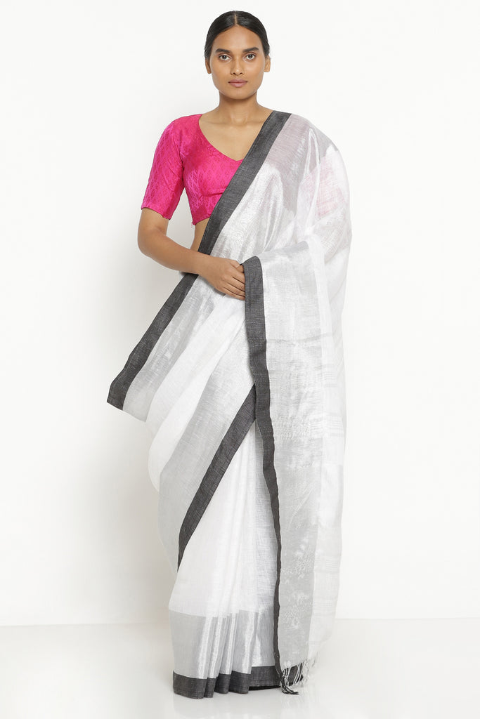 White Pure Linen Saree with Black and Silver Tissue Zari Border