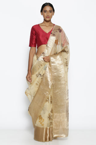 Beige Pure Silk-Organza Saree with Floral Print Over Zari Checks