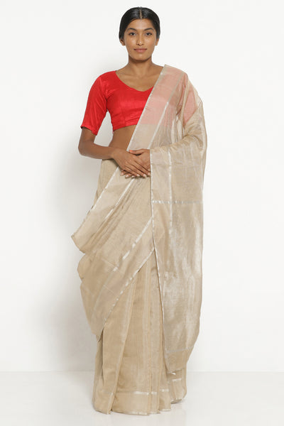 Via East deep beige handloom silk tissue chanderi saree with detailed pallu