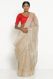 Deep Beige Handloom Silk Tissue Chanderi Saree with Detailed Pallu