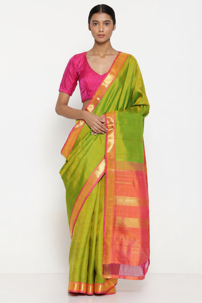 Via East green handloom pure silk kanjeevaram saree with rich detailed zari border 1