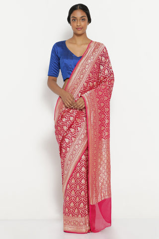 Bright Pink Handloom Pure Silk-Georgette Banarasi Saree with All Over Gold Zari Motifs
