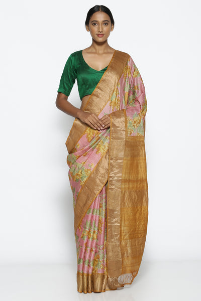 Via East dusty pink pure tussar silk handloom saree with all over floral print
