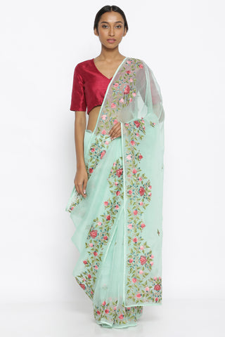 Mint Green Pure Silk Organza Sheer Saree with Intricate Floral Embroidered Border