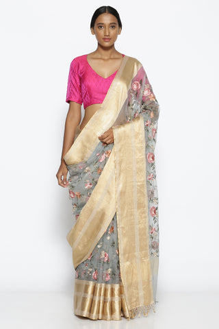 Blue-Grey Pure Sheer Silk-Organza Saree with All Over Floral Embroidery