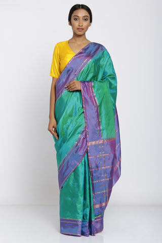 Green Handloom Pure Silk Saree with Purple Border and Striped Pallu