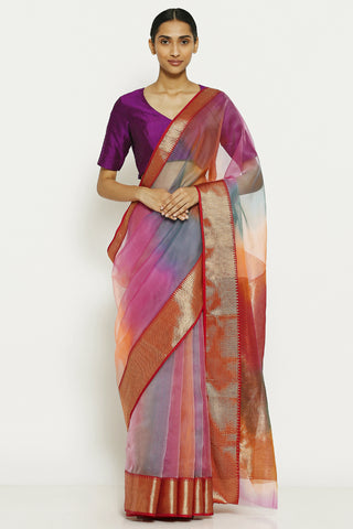 Pink Blue Handloom Pure Silk Chanderi Saree with Ombre Effect and Gold Zari Border