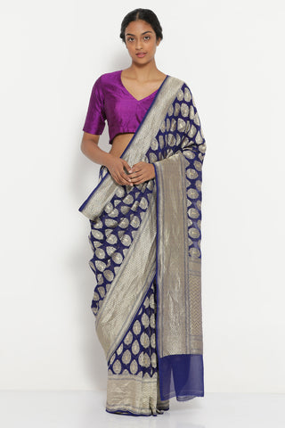 Royal Blue Handloom Pure Silk-Georgette Banarasi Saree with All Over Traditional Gold Motifs