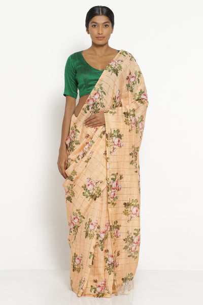 Via East peach handloom silk cotton saree with all over digital floral print