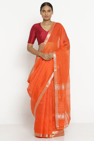 Via East orange handloom pure silk cotton mangalagiri saree with all over silver zari checks