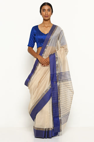 Cream Handloom Silk Cotton Maheshwari Saree with Contrasting Blue Border