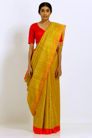 Yellow Handloom Pure Silk Banarasi Tanchoi Saree With Woven Gold work and Red Border