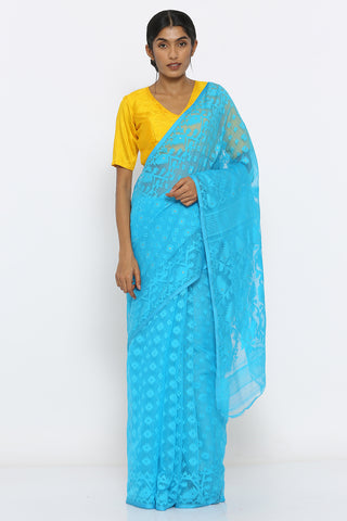 Aqua Blue Jamdani Saree with Self Weave Motif and Traditional Border