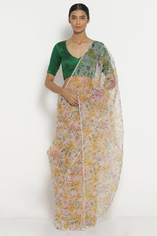 Multi Colour Organza Sheer Saree with All Over Vintage Floral Print