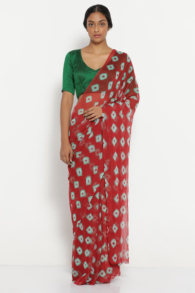 Via East red chiffon saree with all over traditional bandhini print