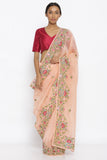 Peach Pure Silk Organza Sheer Saree with Intricate Floral Embroidered Border