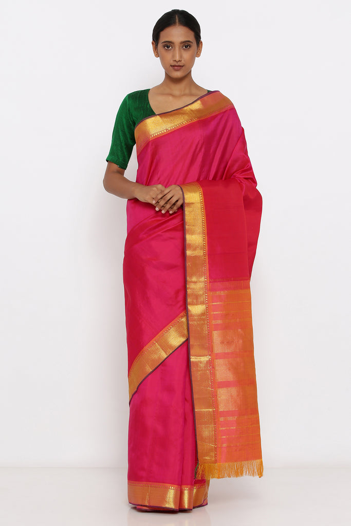 Pink Genuine Handloom Kanjeevaram Silk Saree with Pure Zari Border and Orange Pallu