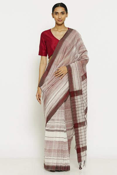 Via East white maroon pure cotton tissue maheshwari saree with all over striped pattern