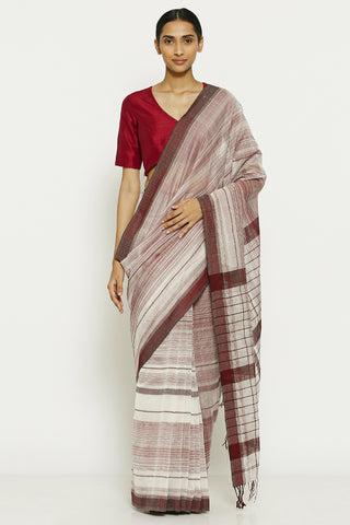 White Maroon Pure Silk Cotton Maheshwari Saree with All Over Striped Pattern