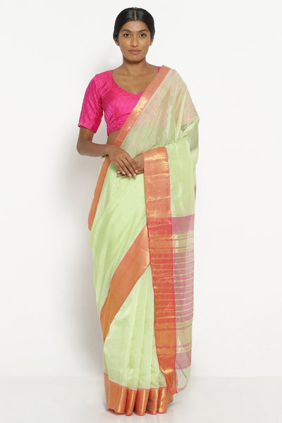 Via East seafoam green pure silk cotton mangalagiri saree with contrasting pink border