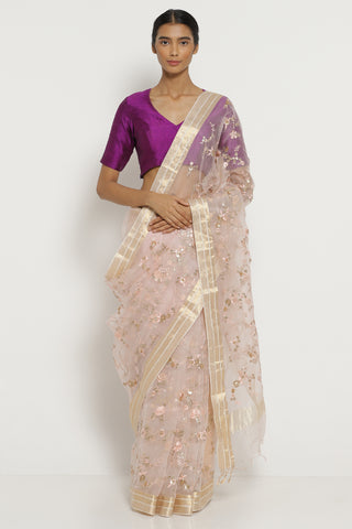Dusty Pink Handloom Pure Silk-Organza Saree with All Over Floral Embellishments