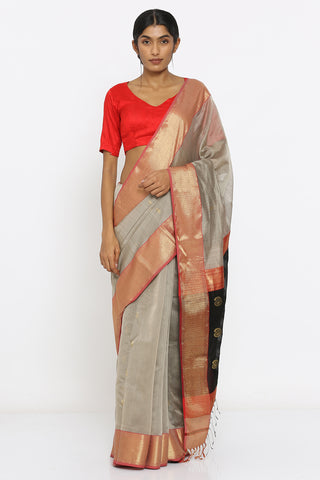 Grey Handloom Pure Silk Maheshwari Saree with Intricate Border and Rich Pallu