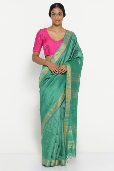 Via East emerald green handloom pure tussar silk saree with gold zari border