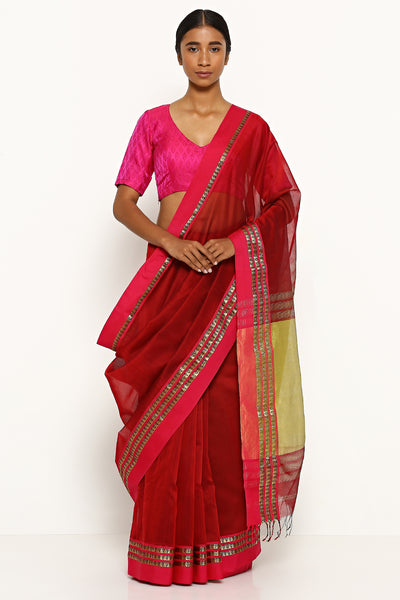 Via East deep maroon handloom silk cotton maheshwari saree with pink border