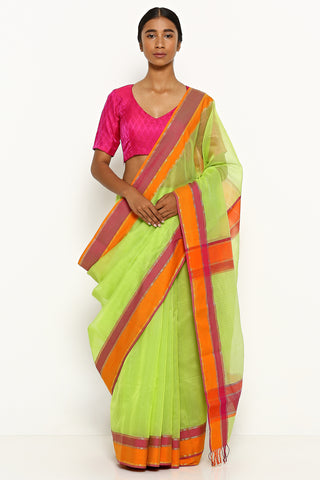 Parrot Green Silk Cotton Maheshwari Saree with Contrasting Border
