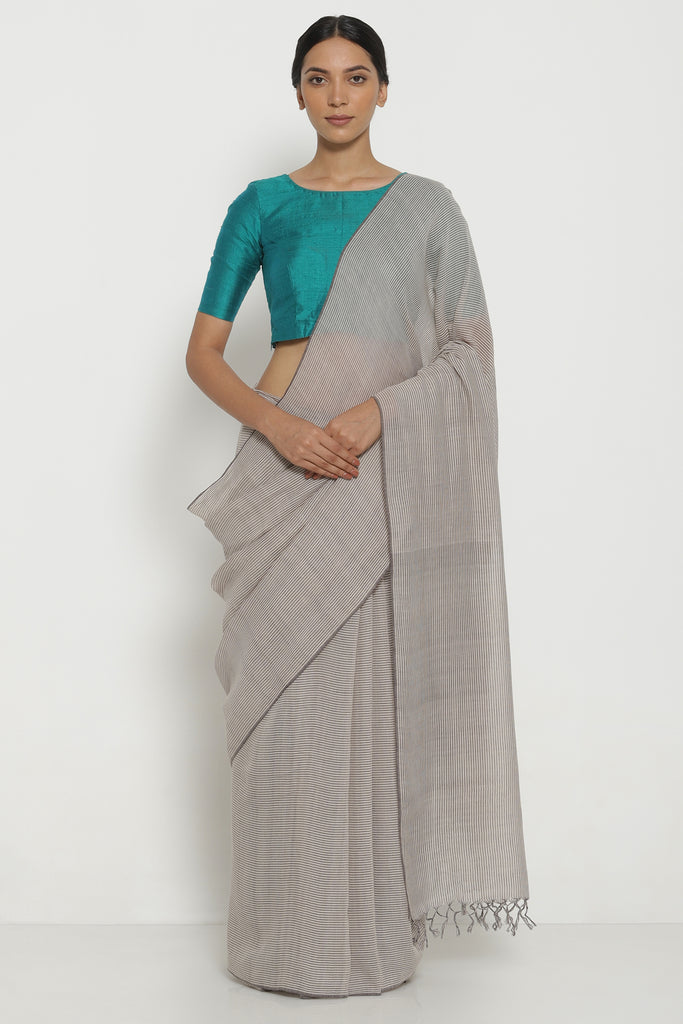 Beige Handloom Pure Khadi Cotton Saree with All Over Striped Pattern