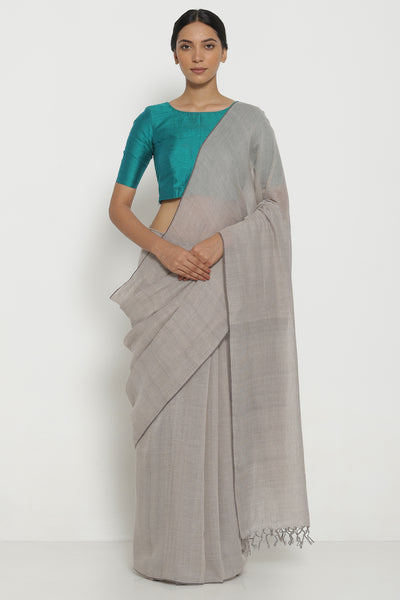 Via East beige handloom pure khadi cotton saree with all over striped pattern